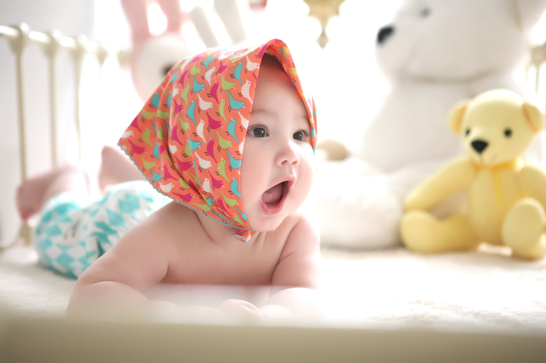 adorable baby beautiful bed