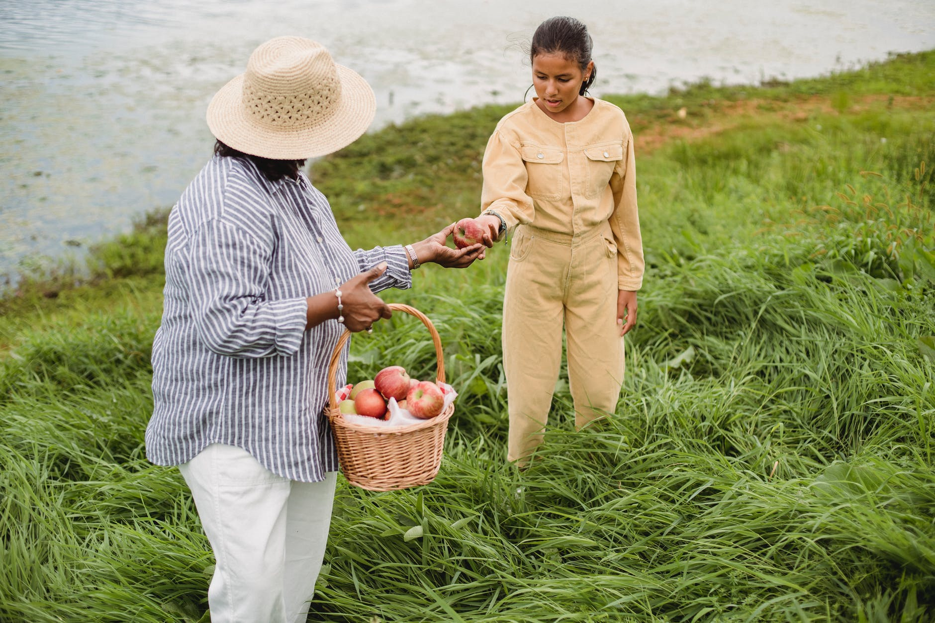 anonymous woman treating girl with apple on river bank